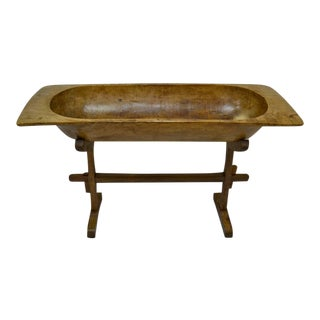 Huge Fruitwood Trog or Dough Bowl with Oak Stand