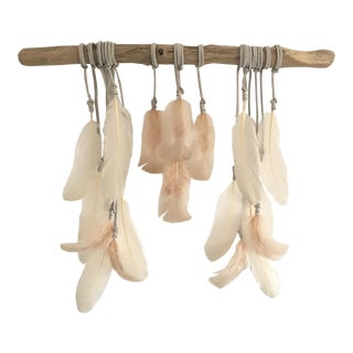 Nude & Cream Feathers on Driftwood Boho Chic Wall Hanging