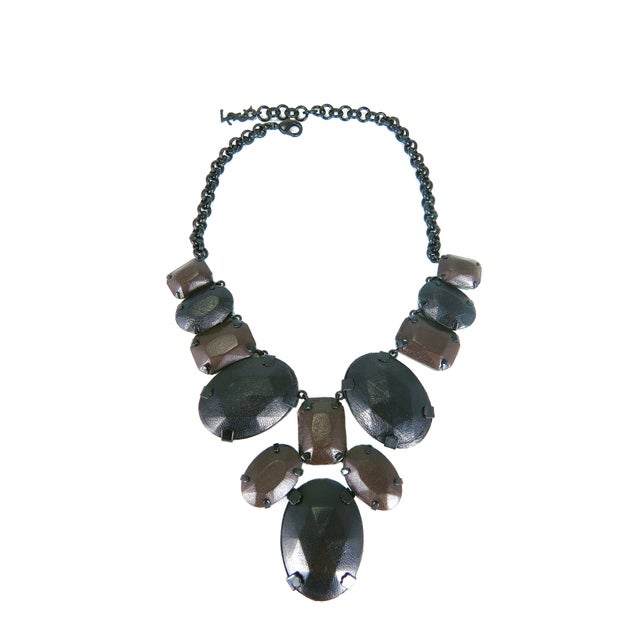 Image of YSL Leather Wrapped Stone Necklace