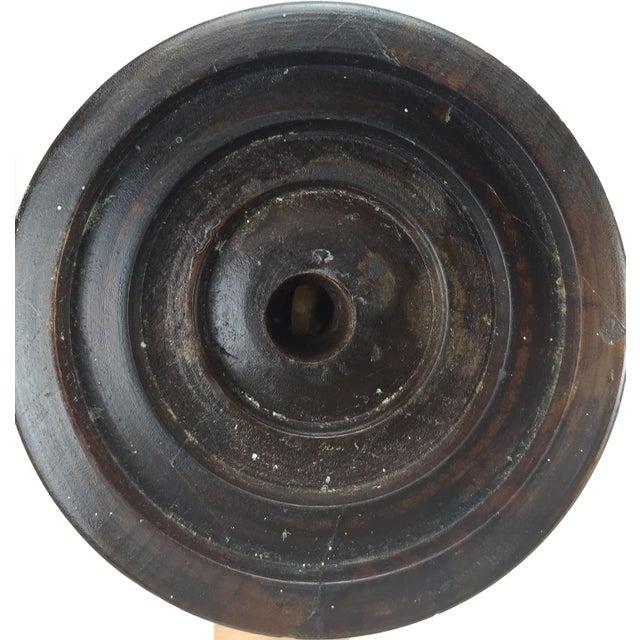 1960s Mid-Century Turned Walnut Floor Candleholder - Image 10 of 10