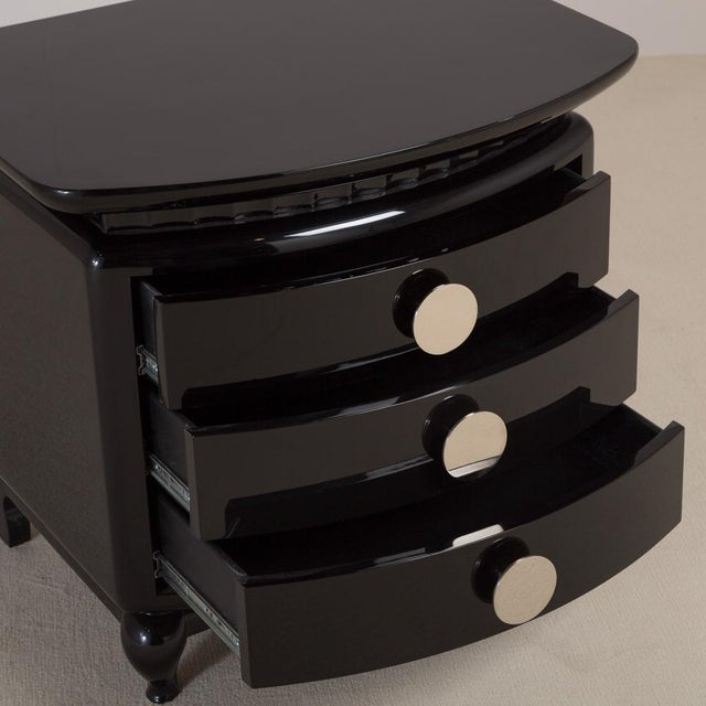 Stunning Jet Black Lacquered Three-Drawer Commode, 1980s - Image 3 of 6