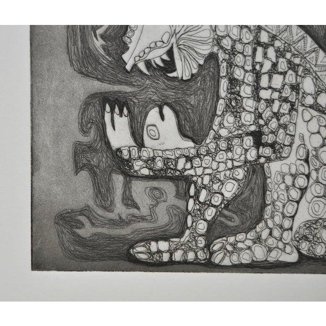 Arnold Grossman Symbolic Shamanistic Etching - Image 3 of 6