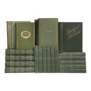 Antique Basil Green Classic Books- Set of 20