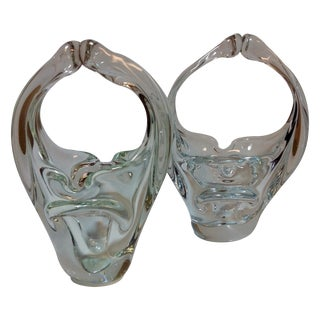 Murano Blown Crystal Baskets - A Pair