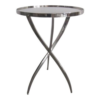 Two French Style Polished Nickeled Side Tables