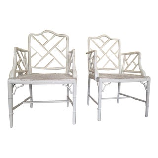 Chippendale Faux Bamboo Chairs - A Pair