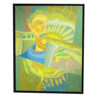 Vintage Sarreid LTD Abstract Green Man Painting