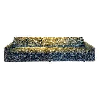 Large Green Floral Patterned Sofa