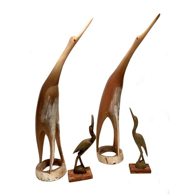Image of Carved Horn & Bone Bird Sculptures - Set of 4