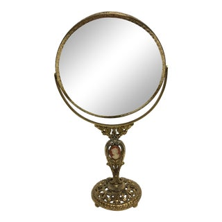 Hollywood Regency Goldtone Cameo Dresser Mirror