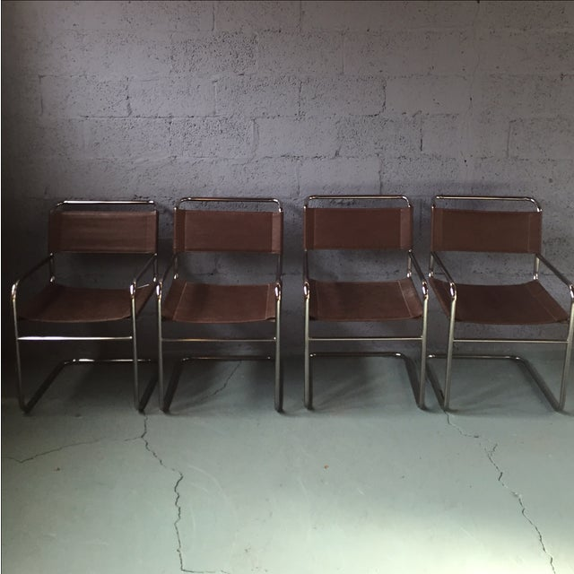 Crome & Glass Cantilever Dining Set - Image 6 of 11