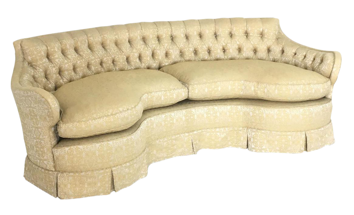 Vintage Hollywood Regency Curved U0026 Tufted Sofa