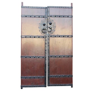 Red Lacquer Elm Gate Doors - A Pair
