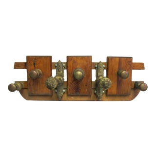 Decorative European Wood and Bronze Coat Rack