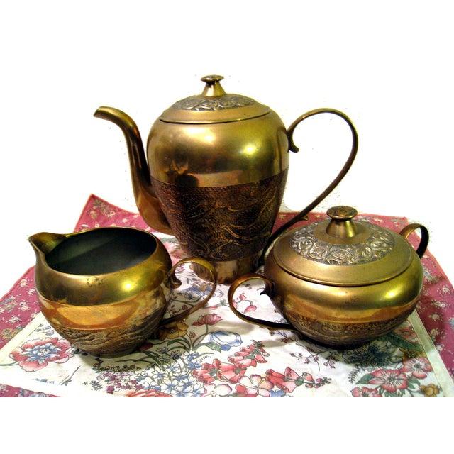 Vintage Hammered Brass Goldfish Tea Set - Image 4 of 10