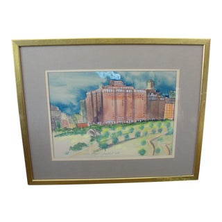Vintage 'Stevens Hotel, Chicago' Watercolor Painting
