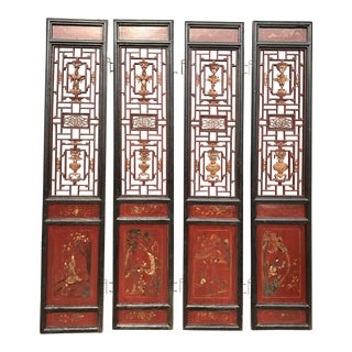 Qing Dynasty Chinese Lacquer Painted Folding Exterior Doors - Set of 4
