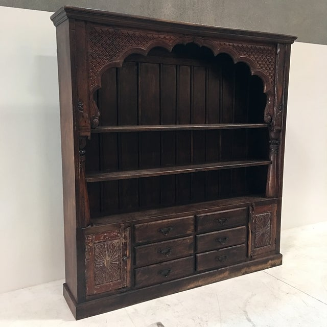 Hand Carved Bookshelf ~ Indian hand carved bookcase chairish