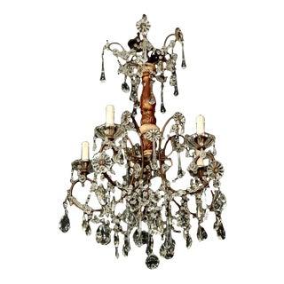 Italian Six-Light Crystal and Gilt Wood Chandelier
