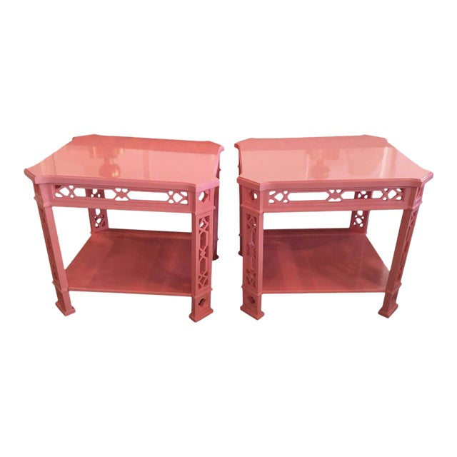 Chinoiserie Pink Lacquered Fretwork Side Tables - A Pair - Image 1 of 11