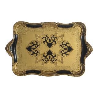 Italian Florentine Serving Tray in Gold & Black