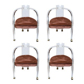 Charles Hollis Jones Lucite Dining Chairs - Set of 4