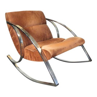 Milo Baughman Style Chrome Rocking Chair