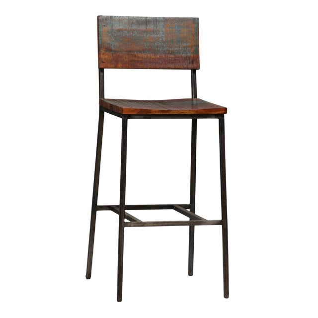 Image of Reclaimed Wood & Iron Bar Stool