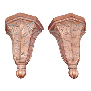Plaster Gold and Verdigris Corbels - A Pair