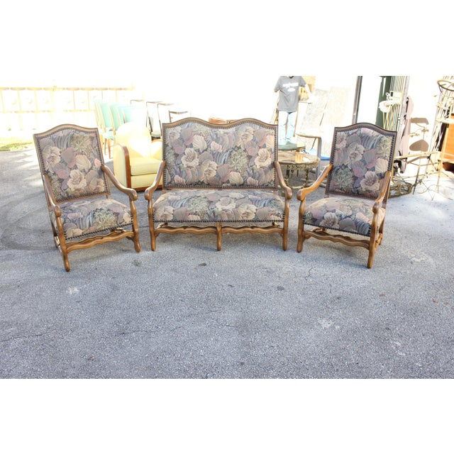 Solid Walnut Louis XIII Style Os De Mouton 2 Armchairs 1 settees Circa 1900s - Set of 3 - Image 2 of 11
