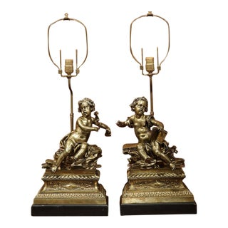 19th Century French Bronze Cherub Lamps - A Pair