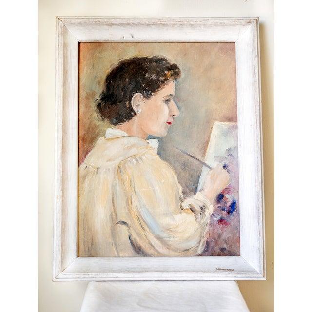 Image of 1940s Woman Oil Painter Portrait on Canvas