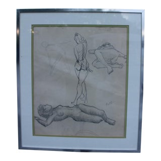 Three Nude Females Charcoal Drawing by James Battle