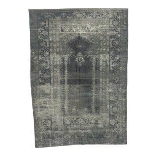 Vintage Artificial Silk Gray Overdyed Turkish Rug - 4′1″ × 5′9″