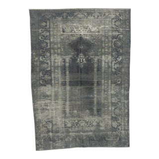 Vintage Artificial Silk Gray Overdyed Turkish Rug - 4′1″ × 5′9″