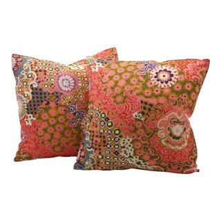 Vintage Psychedelic Floral Pillows - A Pair