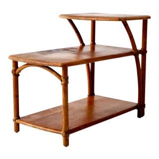 Mid-Century Rattan End Table