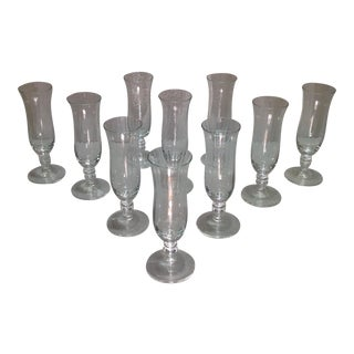 Vintage Optic Clear Crystal Champagne Flutes - S/10