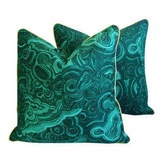 Large CustomTony Duquette-Style Jim Thompson Malachite Feather/Down Pillows - Pair
