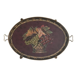 Metal Tuscan Grape Basket Tray