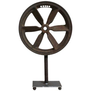 Antique Mounted Pulley Wheel Industrial Art