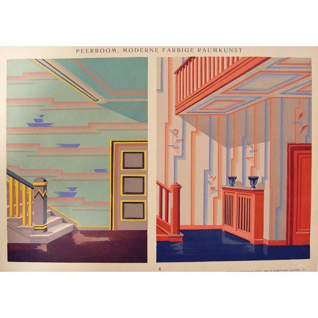 Vintage 1929 art deco blue orange pochoir print chairish for Pochoir deco