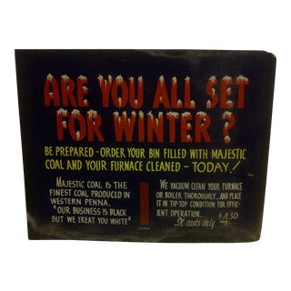 "Vintage Home Heating Coal Sign ""Majestic Coal"" Circa 1940"