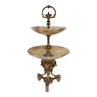 Tiered Alabaster & Gilt Bronze Epergne