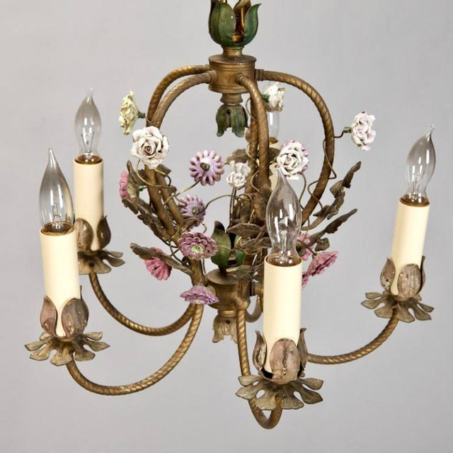 Image of French Five-Light Brass Chandelier With Porcelain Flowers