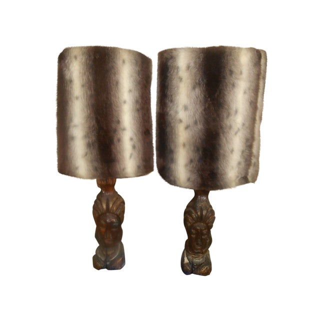 Hand Carved Mid-Century Face Table Lamps - Pair - Image 1 of 8