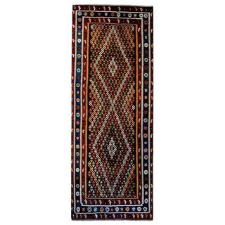Mid-20th Century Kirmanshah Kilim Diamond Pattern Runner - 5′1″ × 11′5″