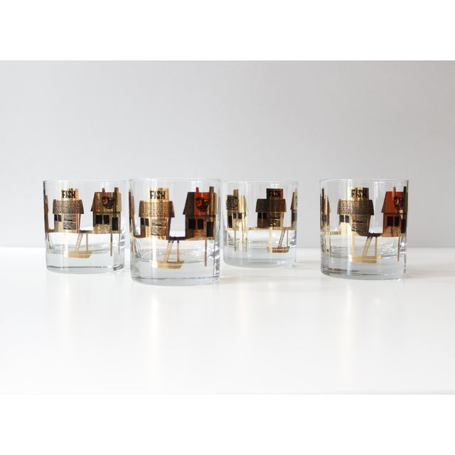 Image of Black & Gold Couroc Mid-Century Fish Glasses - Set of 4