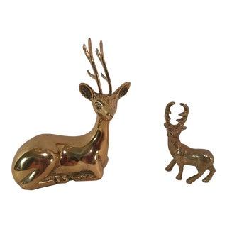 Vintage Brass Deer Figurines - Set of Two
