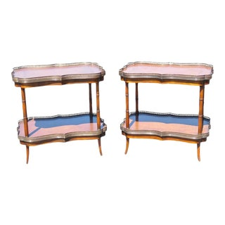 Faux Bamboo Leather Top Tables - A Pair